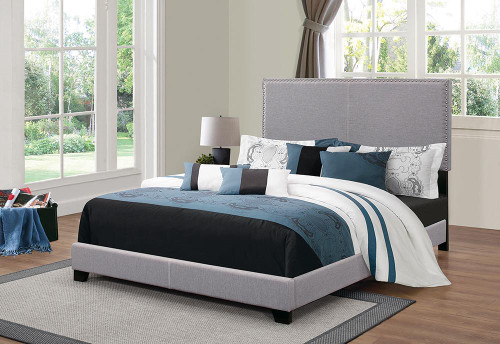 Boyd Upholstered Bed - Grey - Boyd Eastern King Upholstered Bed With Nailhead Trim Grey