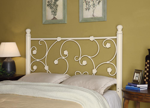 Metal Headboard - Full/queen Headboard With Floral Pattern White