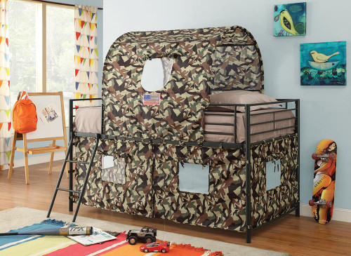 Camouflage Tent Bed - Camouflage - Camouflage Tent Loft Bed With Ladder Army Green