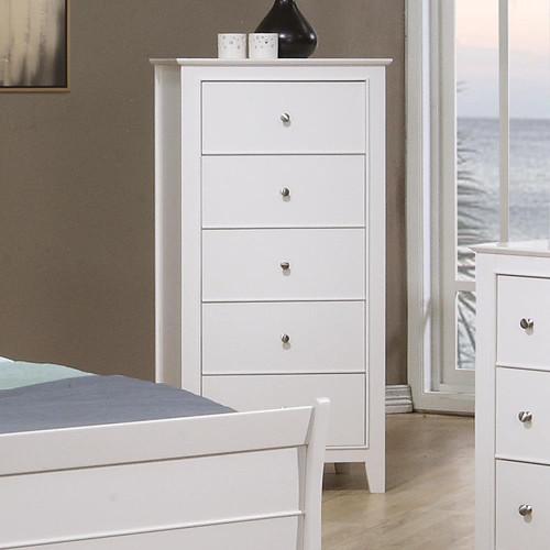 Selena Collection - Selena 5-drawer Chest White