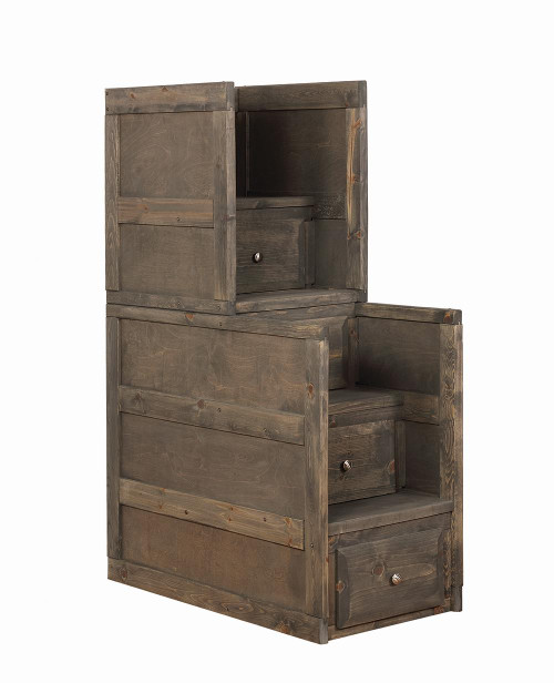 Wrangle Hill Collection - Wrangle Hill 4-drawer Stairway Chest Gun Smoke