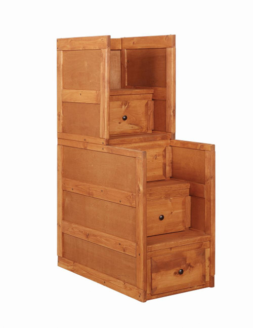 Wrangle Hill Collection - Wrangle Hill 4-drawer Stairway Chest Amber Wash