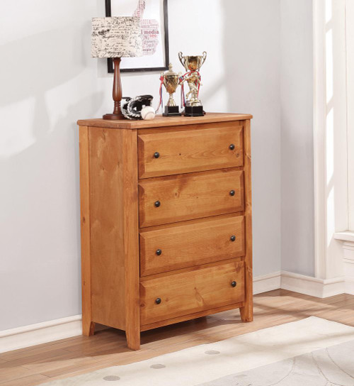 Wrangle Hill Collection - Wrangle Hill 4-drawer Chest Amber Wash