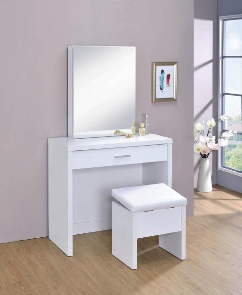White - 2-piece Vanity Set With Lift-top Stool White