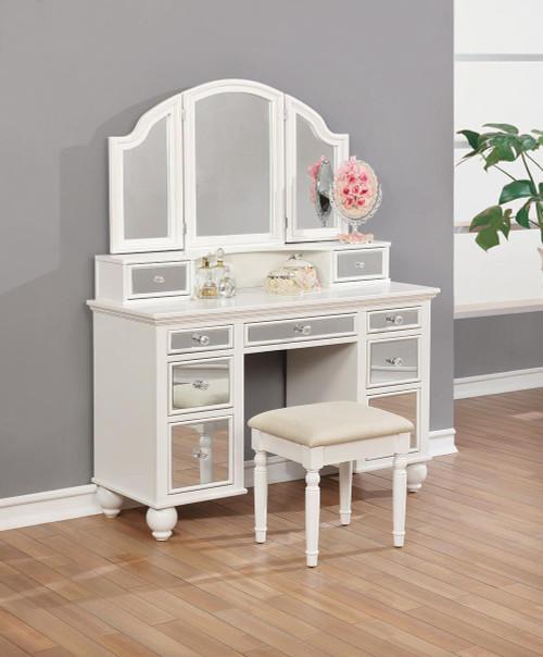 Beige - 2-piece Vanity Set White And Beige