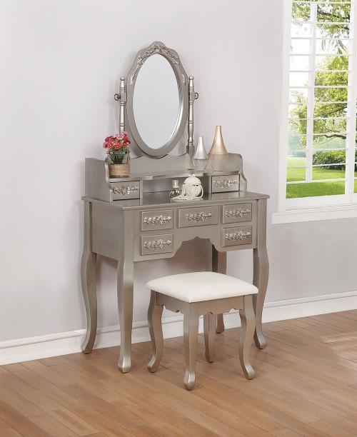 White - 2-piece Vanity Set Metallic Silver And White