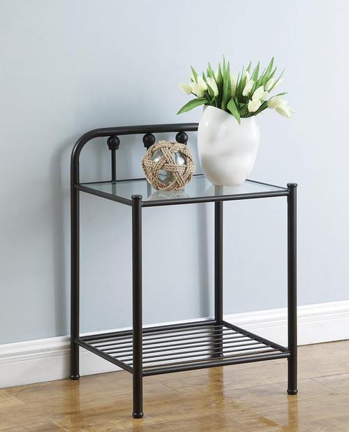 Livingston Collection - Livingston 1-shelf Nightstand With Glass Top Dark Bronze