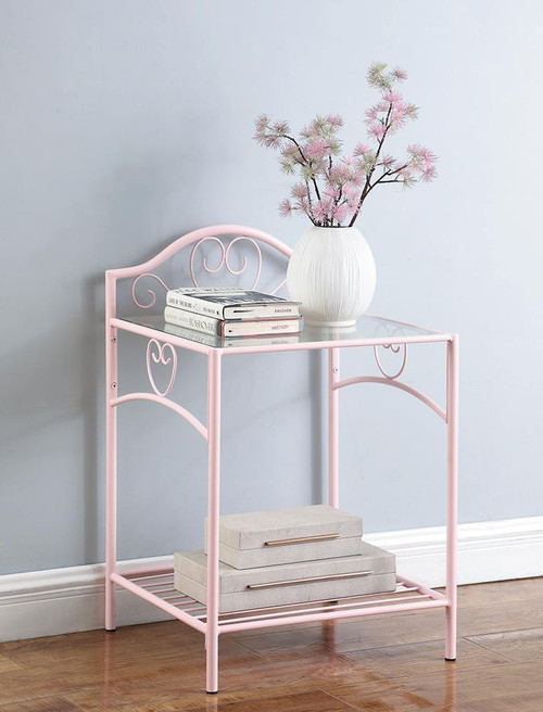 Massi Collection - Massi 1-shelf Nightstand With Glass Top Powder Pink