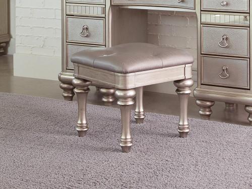 Bling Game Collection - Metallic - Upholstered Vanity Stool Metallic Platinum