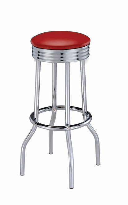Rec Room/ Bar Tables: Chrome/glass - Red - Upholstered Top Bar Stools Red And Chrome (Set of 2)