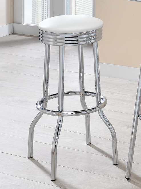 White - Upholstered Top Bar Stools White And Chrome (Set of 2)