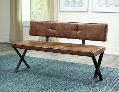Sherman Collection - Brown - Sherman Upholstered Dining Bench Antique Brown And Matte Black