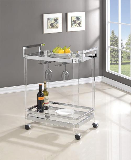 Rec Room: Serving Carts - 2-tier Glass Serving Cart Clear