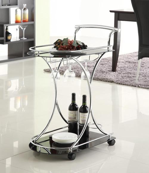 Rec Room: Serving Carts - 2-shelve Serving Cart Chrome And Black
