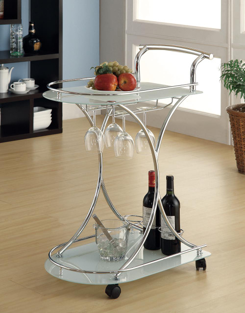 Rec Room: Serving Carts - 2-shelve Serving Cart Chrome And White