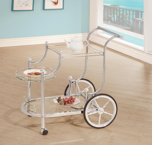 Rec Room: Serving Carts - 3-tier Serving Cart Chrome And Clear