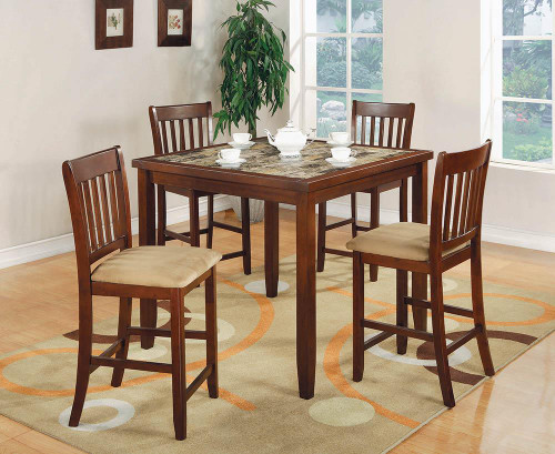 Dining: Packaged Sets : Counter Height - 5-piece Counter Height Dining Set Red Brown And Tan