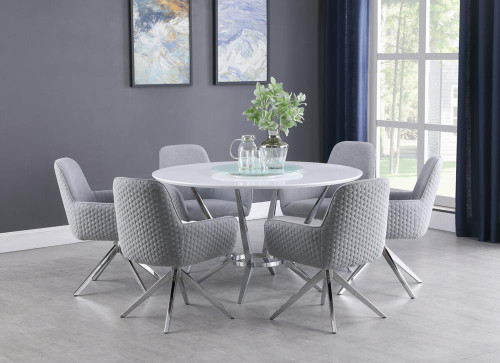 Abby 5-piece Dining Set White And Light Grey - (110321-S5)
