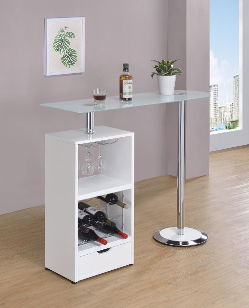 Bar Units: Contemporary - 1-drawer Bar Table Glossy White