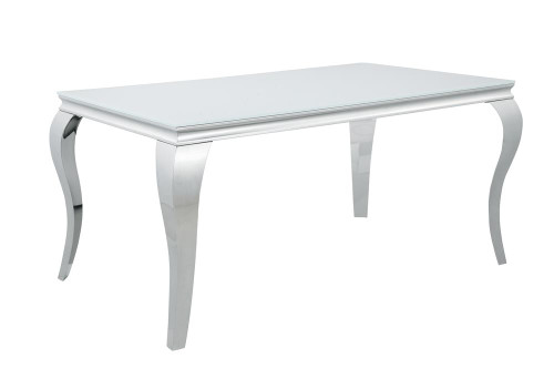 Carone Glass Top Dining Table White And Chrome