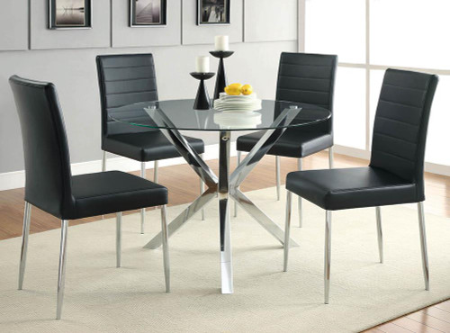 Vance Collection - Vance Glass Top Dining Table With X-cross Base Chrome
