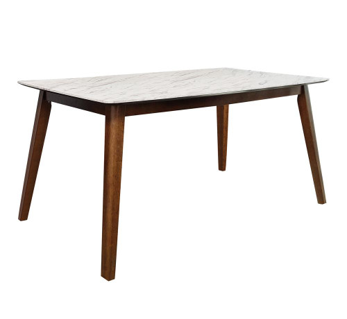 Everett Faux Marble Top Dining Table Natural Walnut And White