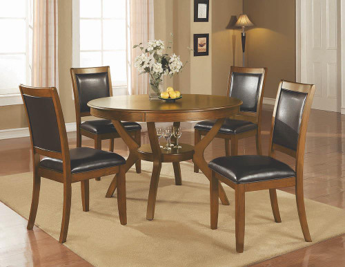 Nelms Collection - Nelms Dining Table With Shelf Deep Brown
