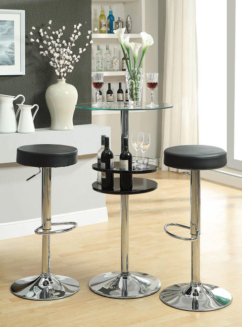 Rec Room/ Bar Tables: Chrome/glass - Glass Top Bar Table With Wine Storage Black And Chrome