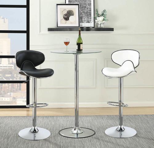 Rec Room/ Bar Tables: Chrome/glass - Led Bar Table Chrome And Clear