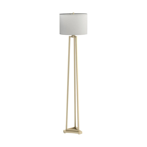 White - Drum Shade Floor Lamp White And Gold