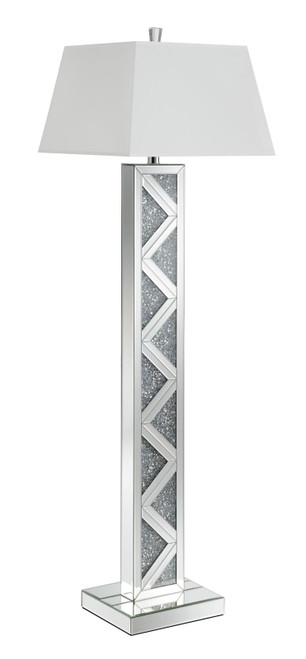 White - Geometric Base Floor Lamp Silver