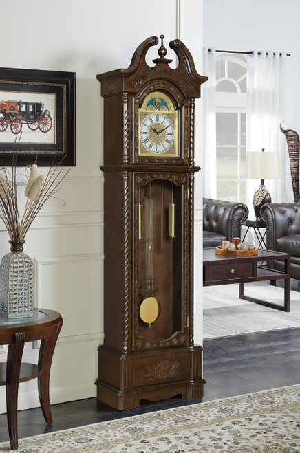 Grandfather Clock With Chime Golden Brown