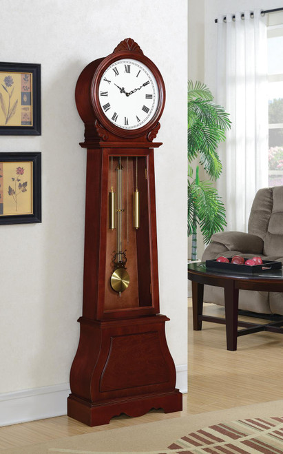 Grandfather Clock With Chime Brown Red
