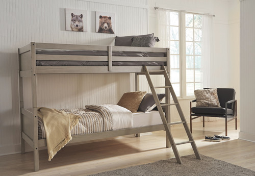Lettner Light Gray Twin/Twin Bunk Bed w/Ladder