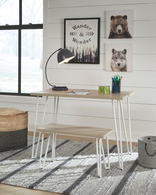 Blariden Brown/White Desk w/Bench