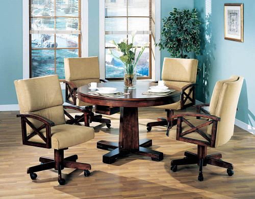 Marietta Game Table - Tan - Marietta Upholstered Game Chair Tobacco And Tan