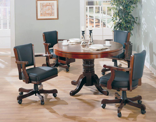 Mitchell Game Table - Black - Mitchell Upholstered Game Chair Chestnut And Black