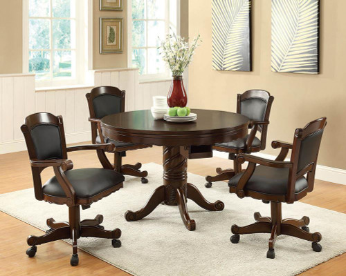 Turk Game Table - Black - Turk Game Chair With Casters Black And Tobacco