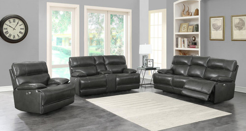 Stanford Motion Collection - Charcoal - Stanford 3-piece Power Living Room Set Charcoal