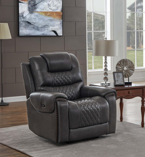 North Motion Collection - Charcoal - North Cushion Back Power^2 Glider Recliner Grey