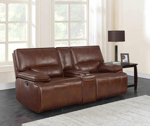 Saddle Brown - Southwick Pillow Top Arm Power Loveseat With Console Saddle Brown