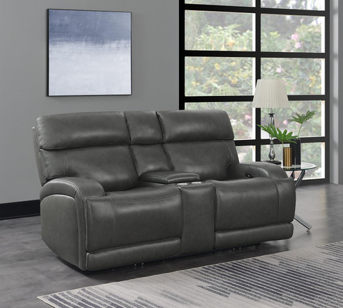 Charcoal - Longport Upholstered Power Loveseat With Console Charcoal