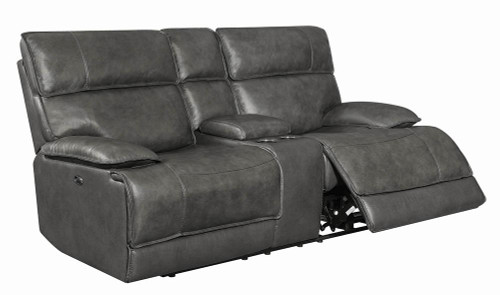 Stanford Motion Collection - Charcoal - Stanford Cushion Back Power Loveseat Charcoal