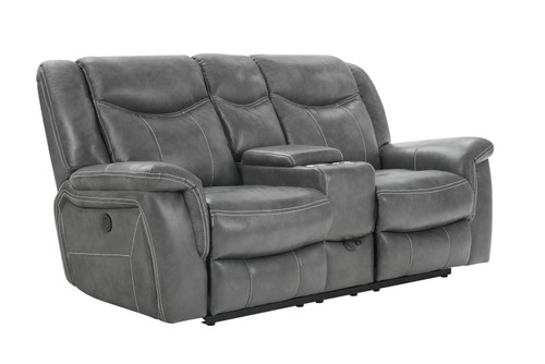 Conrad Motion Collection - Grey - Conrad Upholstered Power Loveseat With Console Grey