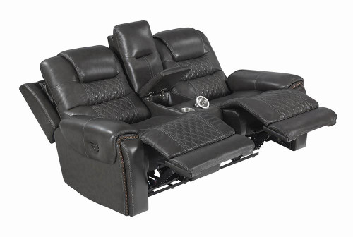 North Motion Collection - Charcoal - North Cushion Back Power^2 Loveseat With Console Grey