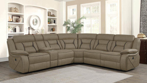Higgins Motion Collection - Tan - Higgins Four-piece Upholstered Power Sectional Tan