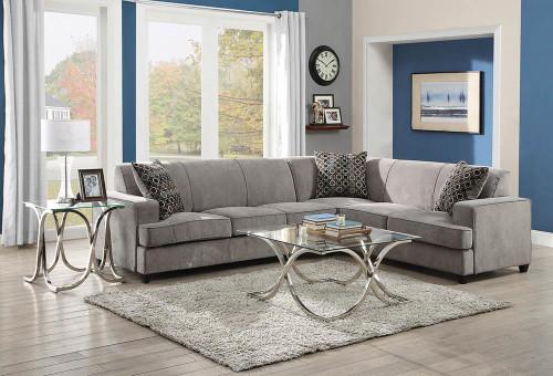 Tess Sectional - Grey - Tess L-shape Sleeper Sectional Grey