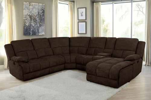 Brown - Belize 6-piece Pillow Top Arm Motion Sectional Brown - (602570)