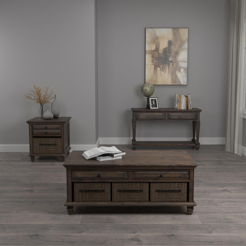 Storage Coffee Table With 3-basket Weathered Burnish Brown