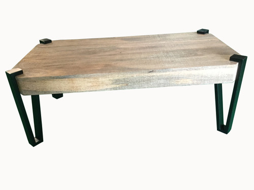 Wooden Rectangular Top Coffee Table Natural And Matte Black